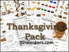 Free Thanksgiving Pack (120+ pages) from 3 Dinosaurs