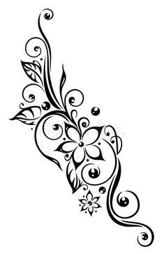 Photo about Black flowers illustration, tribal tattoo style. Illustration of black, blossoming, creative - 33938839 #Maoritattoos