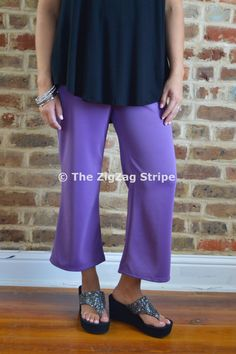 Lilac Capri Pants – The ZigZag Stripe. Use coupon code ZZS72 to save 10% on every order, and shipping is free! http://www.zigzagstripe.com?afmc=ZZS72