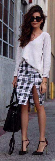 White Multi Tartan Thigh Split Knee-length Skirt