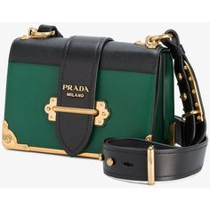 8c764234039 Prada Cahier cross-body bag (€2.115) ❤ liked on Polyvore featuring bags,  handbags, shoulder bags, green crossbody purse, leather shoulder bag, ...