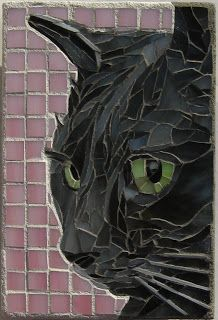 My Shadow - Stained Glass Mosaic Art, Complete by MosaicSmith (Linda).Cats in mosaic Tile Art, Mosaic Art, Mosaic Glass, Mosaic Tiles, Stained Glass, Glass Art, Tiling, Blue Mosaic, Mosaic Mirrors