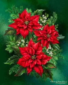 Poinsettia by Dona Gelsinger Christmas Tree Flowers, Christmas Poinsettia, Christmas Scenes, Christmas Pictures, Christmas Art, Winter Christmas, Christmas Decorations, Xmas, Illustration Noel