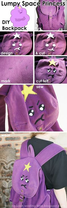 DIY Lumpy Space Princess backpack tutorial.... How to make your own Adventure Time bag via Talking Trash & Wasting Time: