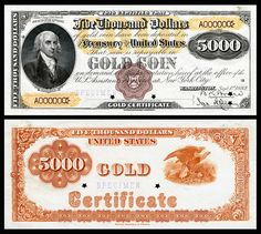 $5,000 Gold Certificate, Series 1882, Fr.1221a, depicting James Madison