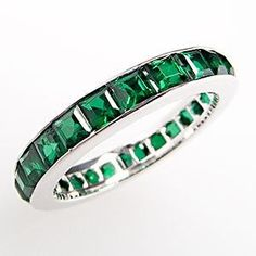 created emerald eternity wedding band ring channel set 14k white gold