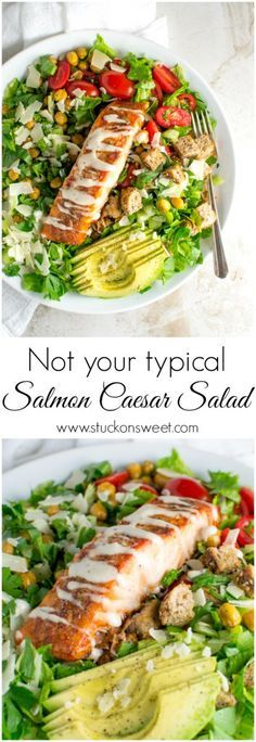 Salmon Caesar Salad - a healthy salad recipe that tastes amazing! Great when you're trying to lose a few extra pounds!   www.stuckonsweet.com
