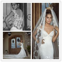 Wholesale Mermaid Wedding Dresses - Buy 2014 Galia Lahav Fiona Gorgeous Vintage Sheer Lace Back Deep-V Neck Sexy Big Tail Ball Gowns Bridal Mermaid Wedding Dresses Cathedral Train, DHgate