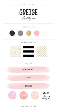 Chic and stylish brand style guide for Greige Boutique.