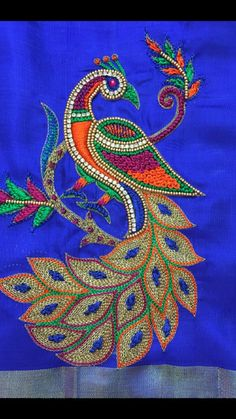 Peacock Blouse Designs, Peacock Embroidery Designs, Hand Embroidery Design Patterns, Best Blouse Designs, Hand Embroidery Dress, Kurti Embroidery Design, Embroidery Works, Embroidery Motifs, Beaded Embroidery