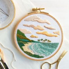 Tropical beach scene embroidery by @larkrising. For more embroidery inspiration, visit DMC.com to see our hundreds of FREE patterns. Diy Embroidery Patterns, Pdf Patterns, Embroidery Kits, Free Pattern, Embroidery Scissors, Embroidery Needles, Modern Embroidery, Seed Stitch, Cross Stitch