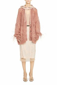 Light mohair knit- cardigan with ostrich feathers on front Button closure on front Oversized with a relaxed fit Lace Skirt, Feather, Blush, Skirts, Tops, Women, Fashion, Moda, Rouge
