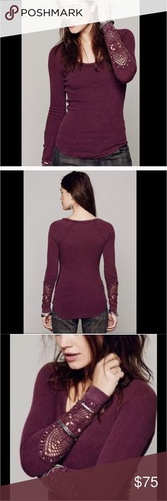 Free People RARE COLOR Synergy Cuff Thermal Free People RARE COLOR Synergy Cuff Thermal in Burgundy. No flaws size m Free People Tops Tees - Long Sleeve