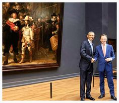 1st serving #USA #President visiting the #Rijksmuseum in #Amsterdam during #G7 summit on Nuclear Security  #2014 in #Noordwijk #Holland.... Posing next to the #Nightwatch by #Rembrandt.