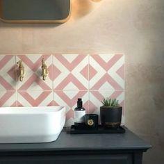 Layout Design, Tile Design, Bath Design, Deco Tumblr, Bert And May Tiles, Pink Tiles, Pink Bathroom Tiles, Bathroom Canvas, Pink Bathtub