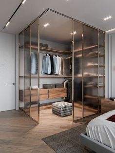 corner glass closet Bedroom interior 40 Ingenious Bedroom Closet Ideas and Designs Walk In Closet Design, Bedroom Closet Design, Closet Designs, Bedroom Designs, Bedroom Interior Design, Interior Ideas, Bedroom Interiors, Modern Interior, Condo Interior