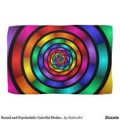 Round and Psychedelic Colorful Modern Fractal Art Kitchen Towel