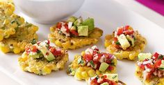 These colourful corn fritters are a great way to decorate your table and can be prepared in advance for an easy work lunch (see notes).
