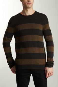 Vince Men Long Sleeve Striped Crew Neck Sweater