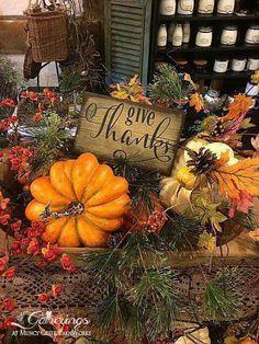 Pumpkins & Pines Thanksgiving Display -from Gatherings at Muncy Creek BarnWorks 🍁 Thanksgiving Decorations, Seasonal Decor, Holiday Decor, Fall Decorations, Thanksgiving Ideas, Thanksgiving Banner, Fall Home Decor, Autumn Home, Fall Arrangements