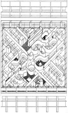 New York: Cooper Union School of Art and Architecture, educativos hejduk Art Et Architecture, Architecture Graphics, Collage Drawing, Line Drawing, John Hejduk, Axonometric Drawing, Model Sketch, Illustration Art, Sketches