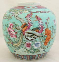 Chinese Qing Guangxu Straits Nonya Peranakan Ginger Jar Phoenix Peony