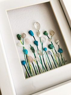 'Field of Blue' by Rebecca Kate. Far Far Away Art, Etsy. Perfect piece to co… 'Field of Blue' by Rebecca Kate. Far Far Away Art, Etsy. Perfect piece to compliment light blue decor. Sea Glass Crafts, Sea Glass Art, Seashell Crafts, Beach Crafts, Sea Glass Jewelry, Glass Art Pictures, Pebble Pictures, Stone Crafts, Rock Crafts