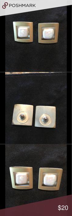 Fresh Water Pearls Earrings Beautiful fresh water pearl earrings satin gold square finish pierced earrings  yours to wear. none Jewelry Earrings