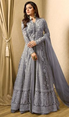 attractive attire is displaying some extraordinary embroidery done with lace, stones and resham work.
