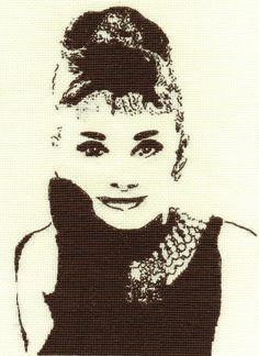 Audrey Hepburn cross-stitch from DMC