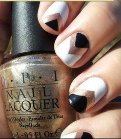 white-black-gold-chevron-nails silver chevron black gold white