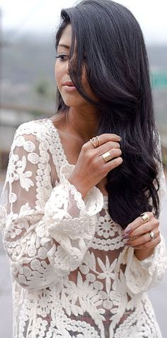 #Pretty White Lace  white blouse #2dayslook #white fashion #whitestyle  www.2dayslook.com