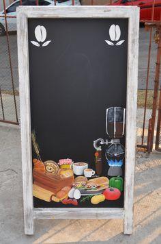 #pizarron de piso para #cafeterias #restaurantes con técnica en acrílico que no se borra