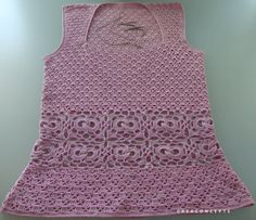 Crochet tank top handmade 100 % cotton pink. by CONCEPTcreative