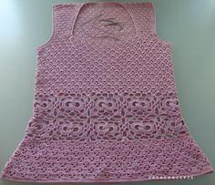 Crochet tank top handmade 100 % cotton pink. by CONCEPTcreative