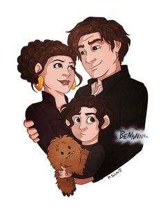 m-sciuto: Organa-Solo Family. personalphilosophie: This was cute until I noticed Snoke was calling to baby Ben.