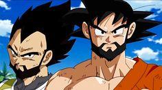 Goku and Vegeta grow beards in the course of three years, Dbs
