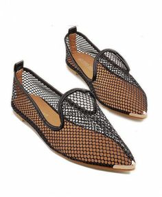 Black Mesh Flat Shoes with Metal Tips