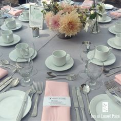 Grey Pink Table Decor