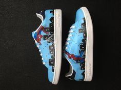 Custom Spiderman sneakers. To get yours email info@sound-couture.com  Twitter: @ sound_couture