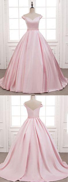 Beaded pink satin off shoulder prom dress, ball gowns wedding dress