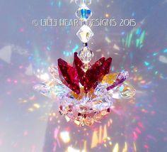 m/w Swarovski Crystal Aurora Borealis and Red Christmas Ornament Lotus Blossom Suncatcher Car Charm https://www.etsy.com/listing/250419156/mw-swarovski-crystal-aurora-borealis-and