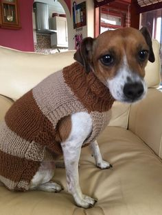 Keep your favourite furry friend warm and cosy this winter in this hand knitted dog jumper. This jumper is size Small and is extra long. In contrasting and subtle mid-brown and creamy beige, It slips over the head easily - long armholes allow easy putting on/taking off. No buttons,