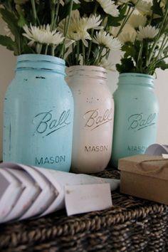 Mason Jars wedding or beach coast home decor duck egg blue beachy cottage chic