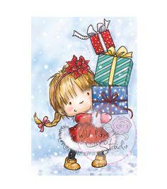 "Wild Rose Studio Ltd. Clear Stamp 3.5""X3"" Sheet-Girl W/Christmas Presents"