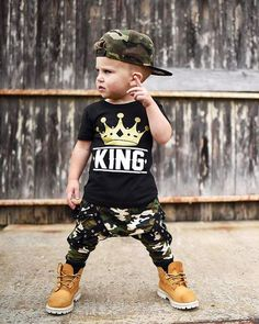 Super stylish outfit set Short Sleeve King T-shirt Camouflage harem pants Your little king will not only look super cute but will also feel really comfortable all the timeThis looks so cool! 😎 - King Crown Camouflage Set – John and Toad Baby Outfits, Outfits Niños, Little Boy Outfits, Toddler Boy Outfits, Toddler Boys, Baby Kids, Kids Outfits, Fashion Outfits, Kids Boys