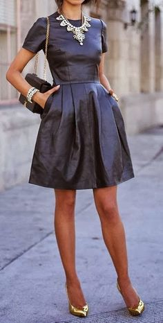 leather dress and metallic shoes