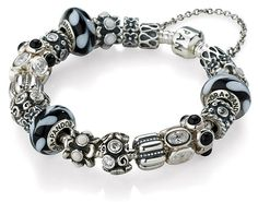 Elegant in black, white and silver.  Midnight Wish Completed Bracelet by Pandora Jewelry via Wilkins & Olander