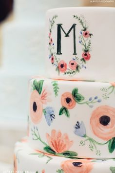 A Hand-painted Wedding Cake by The Sweet Side of Seattle | Alante Photography