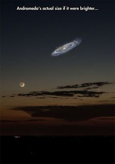 Andromeda's actual size if it were brighter....